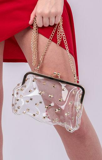 Clear Stud Detail Gold Chain Shoulder Bag - Mendes