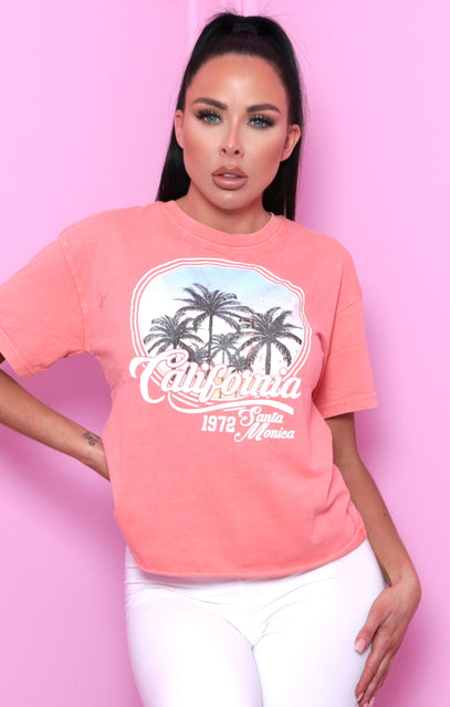 Coral 'California' Graphic Print T-Shirt - Rivka
