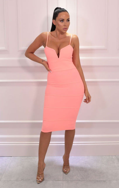 Coral Ribbed V Plunge Bodycon Midi Dress - Velma