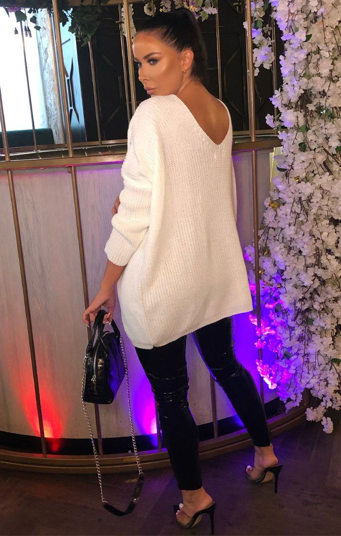 Cream Deep Plunge Knitted Oversized Jumper - Rosie