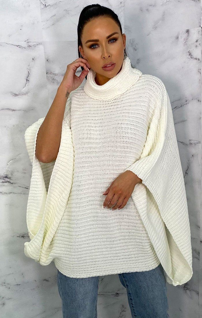 Cream Extreme Sleeve Roll Neck Jumper - Moviee