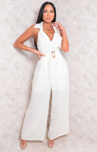 Cream Halterneck Wide Leg Cut Out Jumpsuit - Nova
