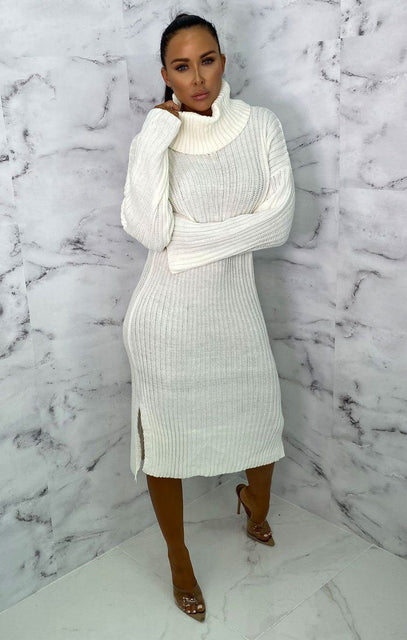 Cream High Neck Knitted Side Split Jumper Dress - Penelope