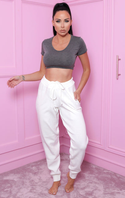 Cream High Waisted Knitted Joggers - Costella