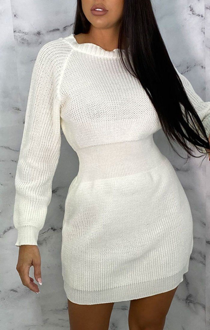 Cream Knitted Bat Wing Mini Jumper Dress - Lipton
