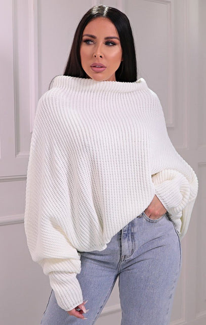 Cream Knitted Oversized Jumper - Brea