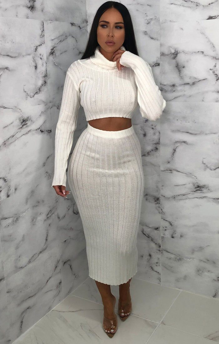 Cream Knitted Turtleneck Midi Co-ord - Coco