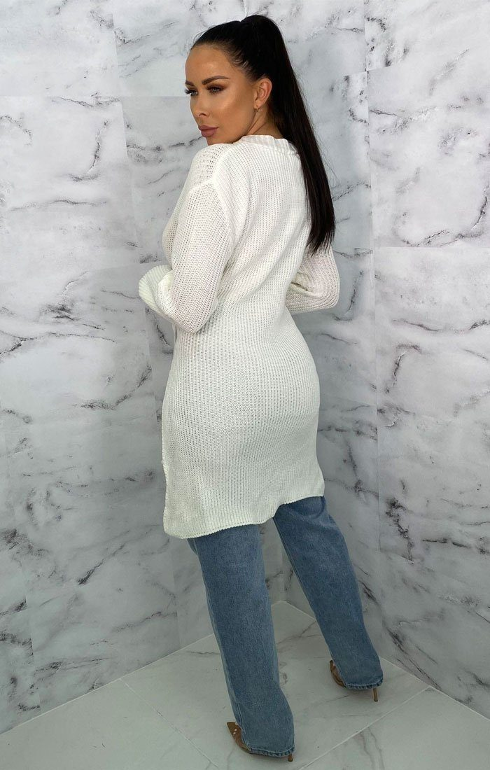 Cream Long Line Split Jumper - Menzie