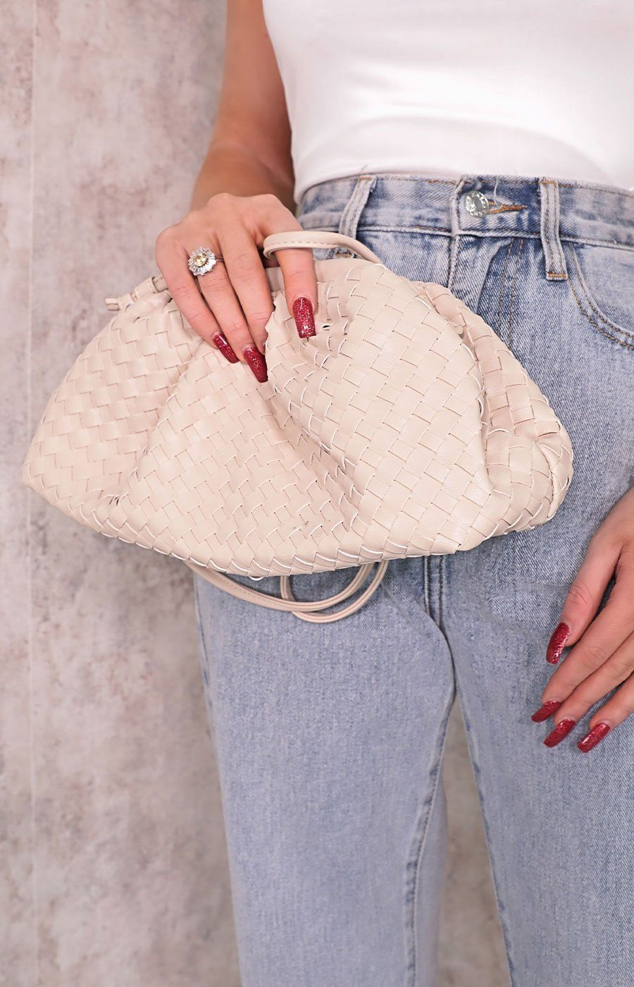 Cream Matte Woven Ruched Mini Bag - Jolene