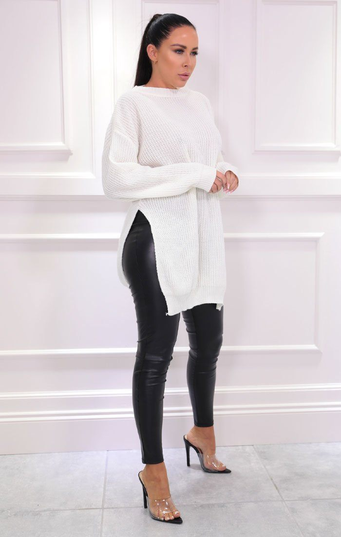 Cream Oversized Split Side Knitted Jumper - Lore