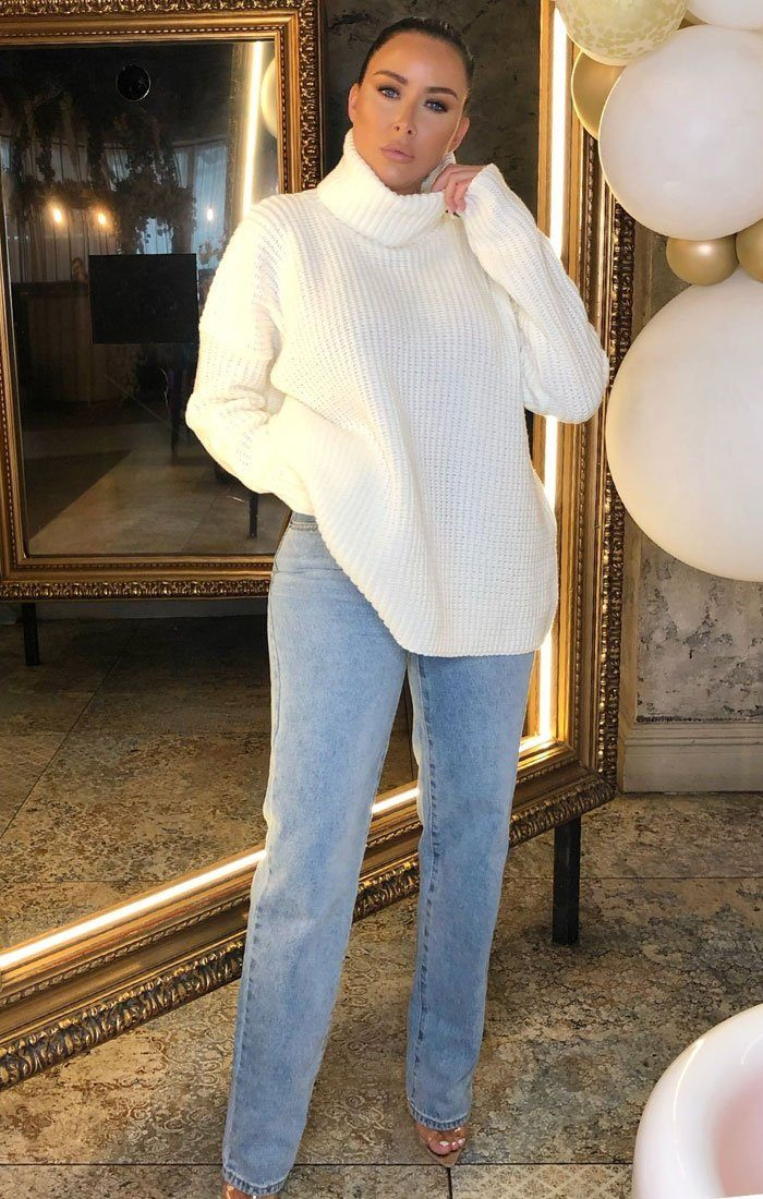 Cream Oversized Turtleneck Knit Jumper - Eliza