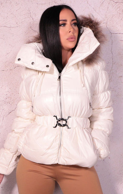 Cream Padded Belted Puffer Faux Fur Jacket - Tegan