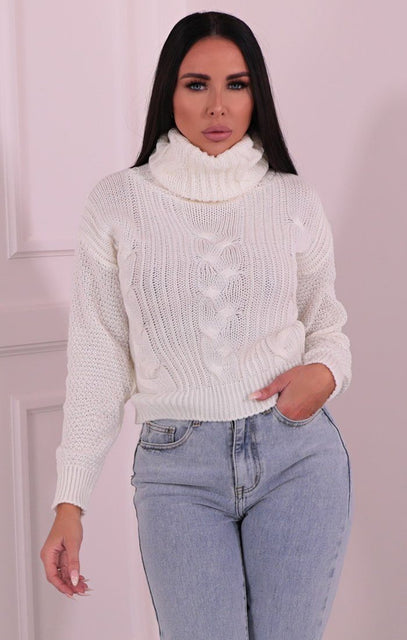 Cream Polo Neck Cropped Knit Jumper - Kate