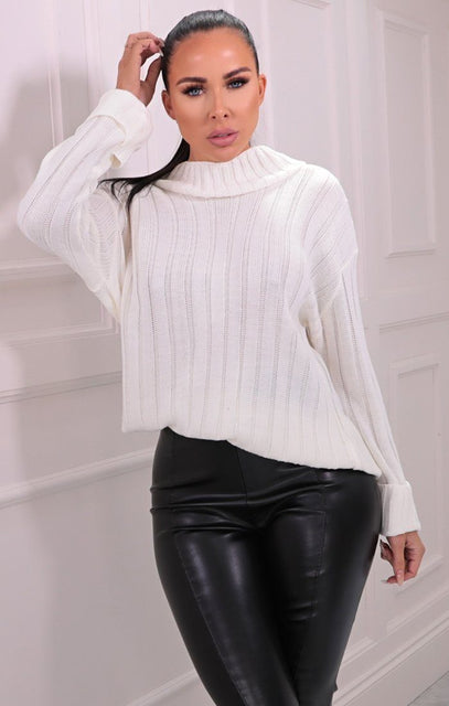 Cream Ribbed Knitted Long Sleeve Jumper - Posie