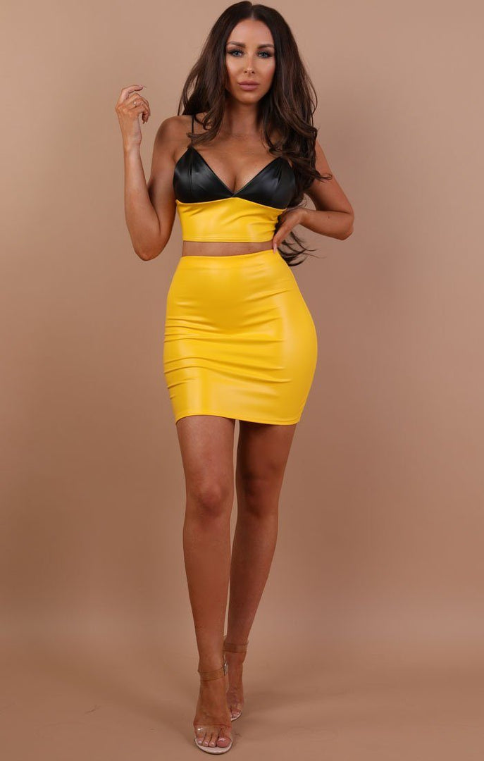 Yellow Contrast Faux Leather Crop Top - Cassandra