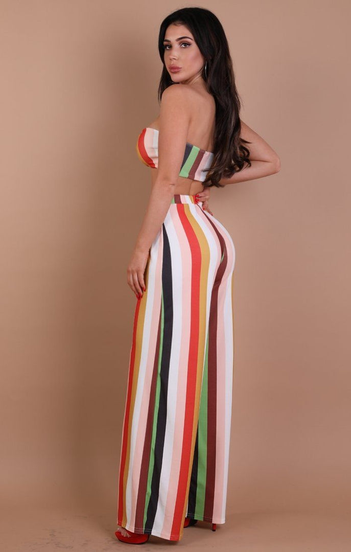 Multi-coloured Stripe Two Piece Set