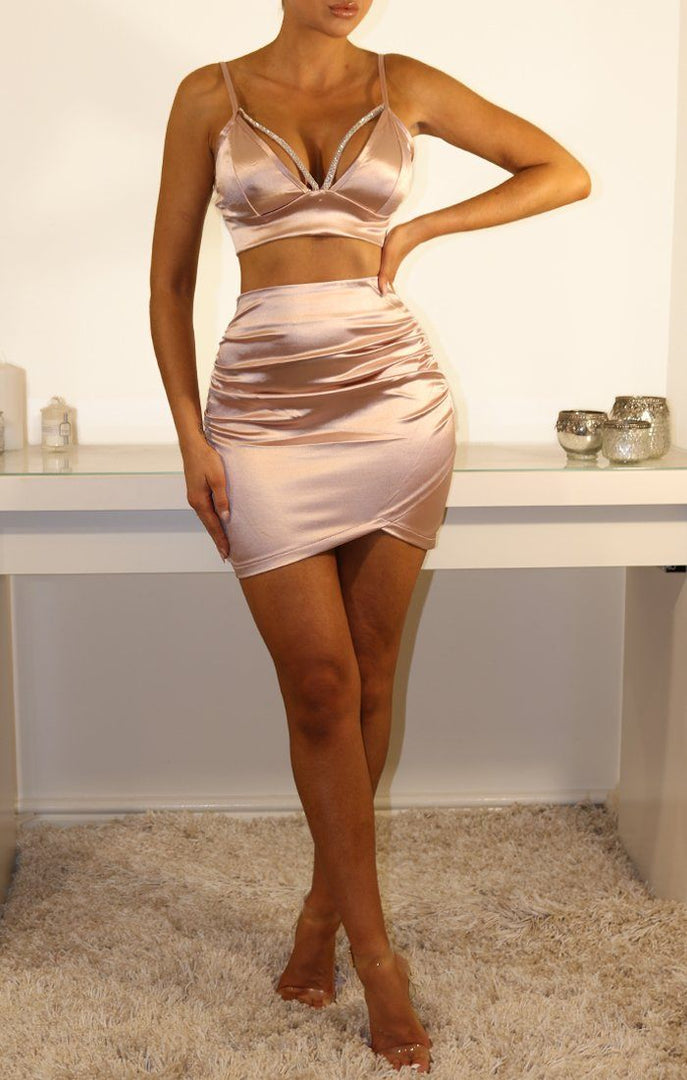Pink Satin Two Piece Co-ord Set