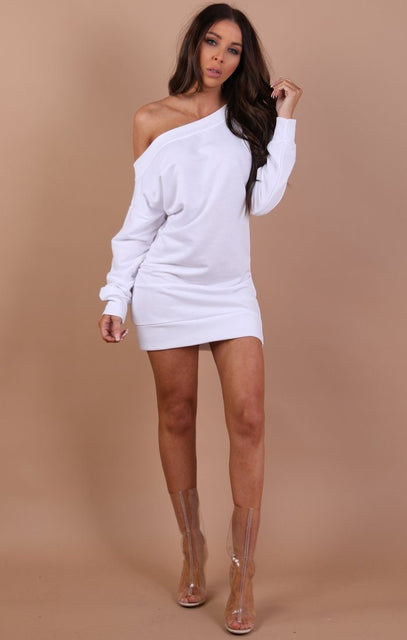 White Off The Shoulder Jumper Dress - Hollie