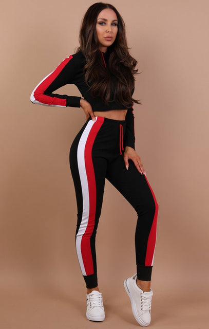 Black Striped Loungewear Tracksuit - Carlie