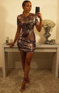 ROSE GOLD TWO TONE SEQUIN BODYCON MINI DRESS