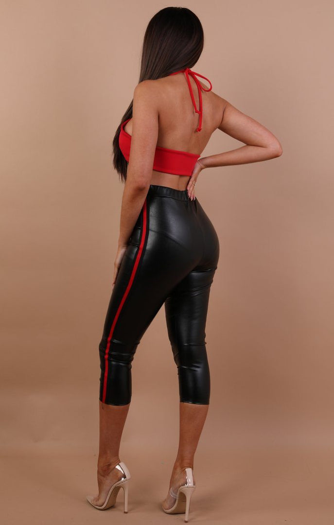 Black Crop Faux Leather Red Stripe Leggings – Tammy