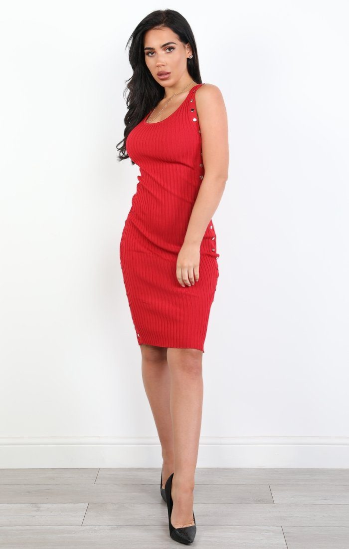 Red Ribbed Studded Midi Dress - Billie