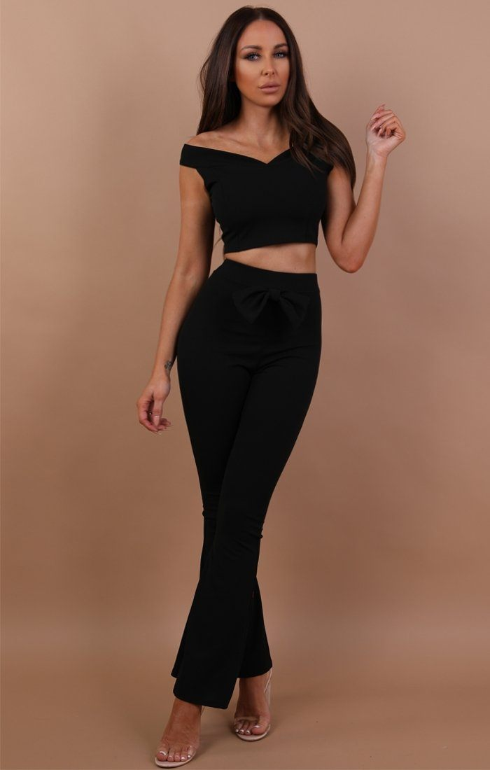 Black Bow Front Co-ord Set - Tara