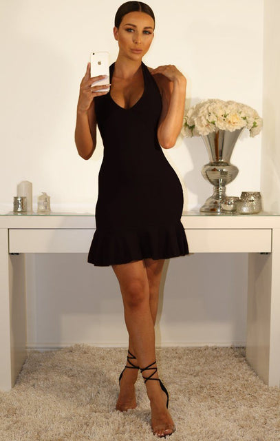 Black Halter Neck Frill Dress