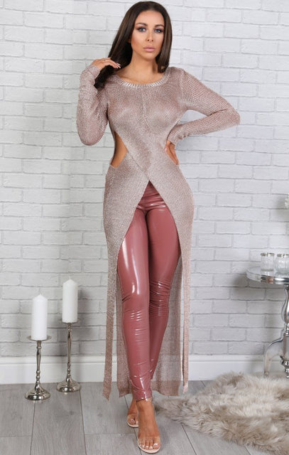 Rose Gold Metallic Cross Over Maxi Dress - Hannah