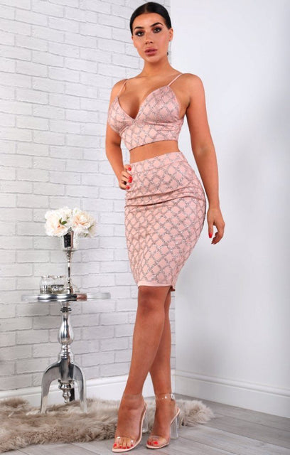 Pink Diamond Glitter Two Piece Co-ord Set