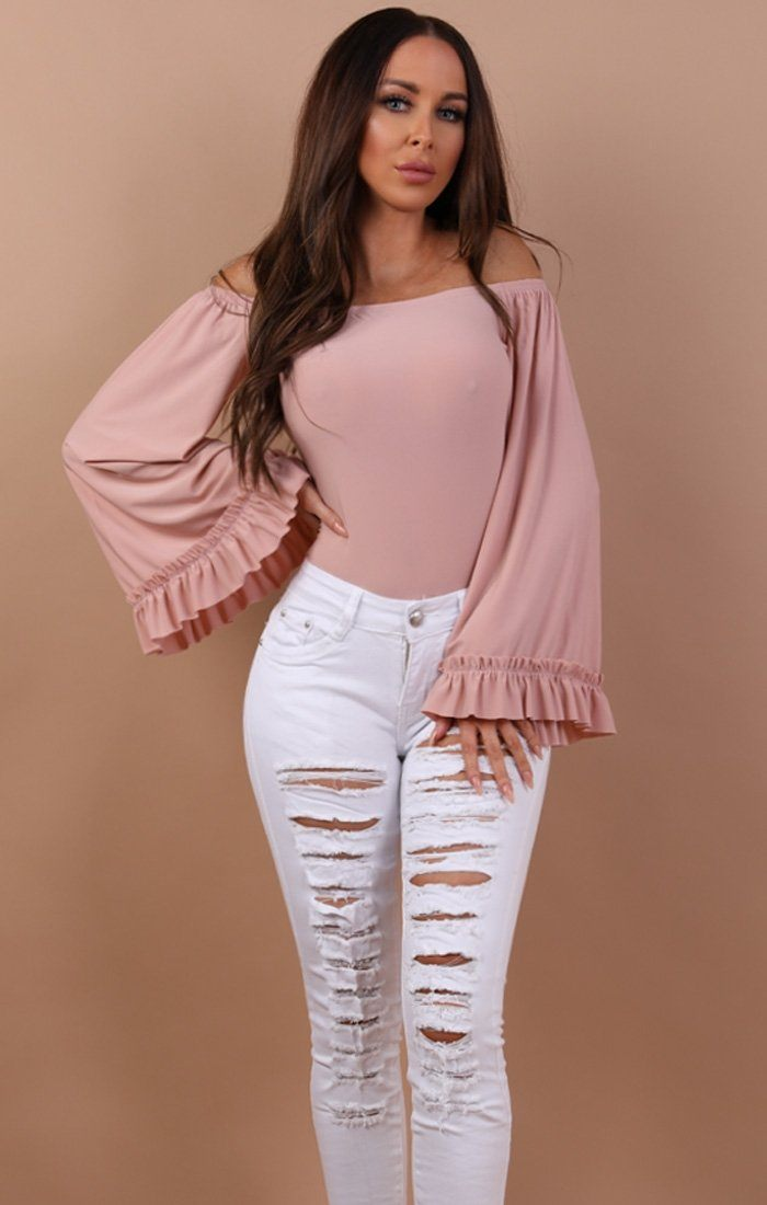 White Distressed Front Jeans - Ellie