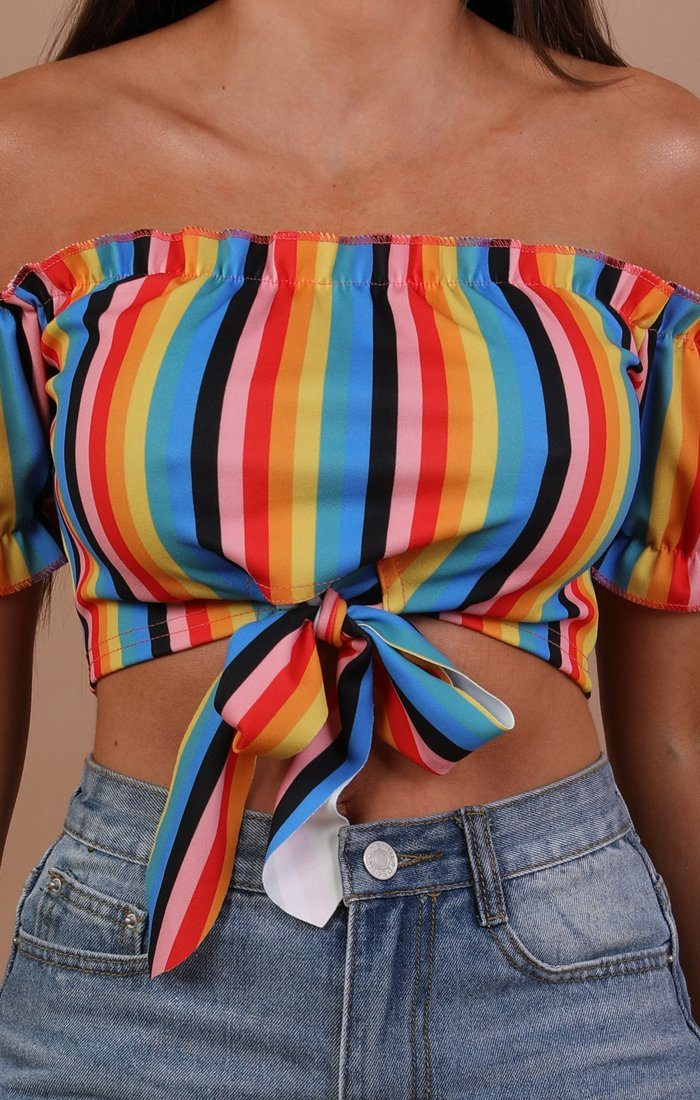 Rainbow Bardot Tie Detail Crop Top - Florence