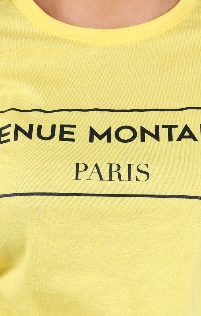 Yellow Avenue Montaigne Slogan T-shirt