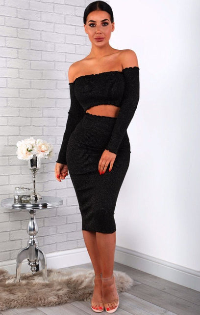 Black Sparkle Ribbed Bodycon Midi High Waist Skirt