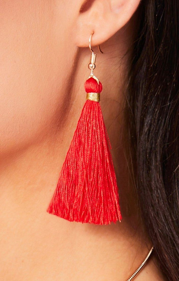 Red Embellished Tassel Earrings And Necklace Set