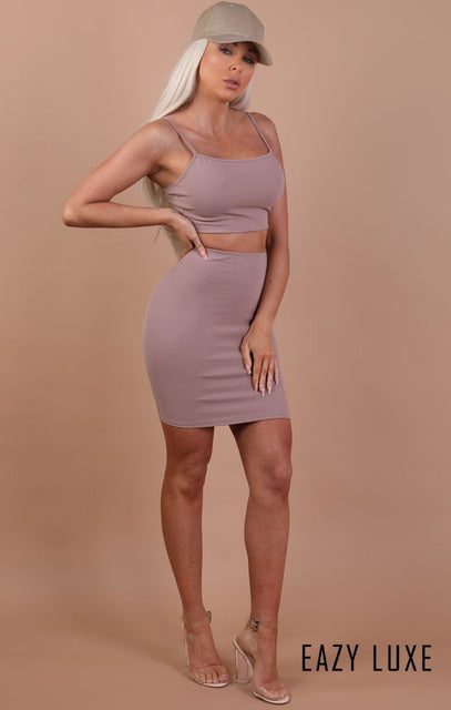 Taupe Bodycon Mini High Waist Skirt - Mimi