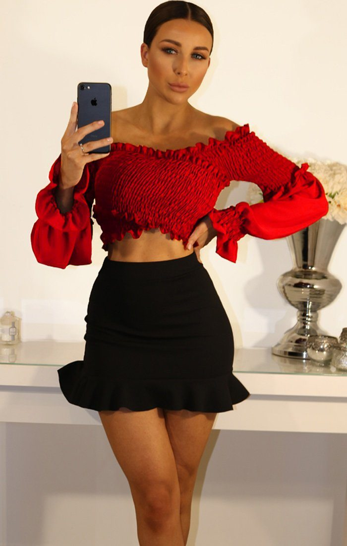 Red Bardot Ruched Sleeve Crop Top