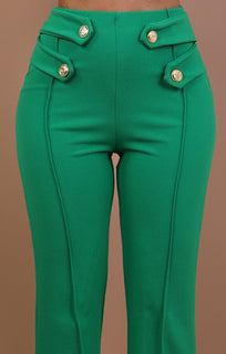 Green High Waist Flare Trousers – Shea