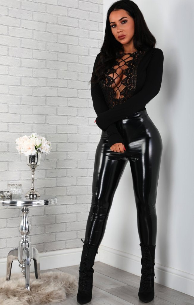Black Lace-up Long Sleeve Bodysuit
