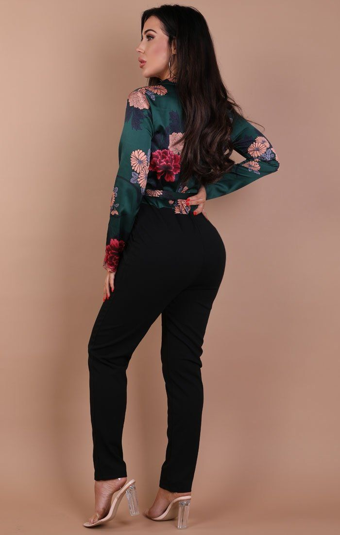 Khaki Floral Satin Tie Up Jumpsuit – Hayley