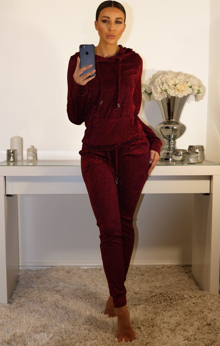 Wine And Silver Metallic Tracksuit Set