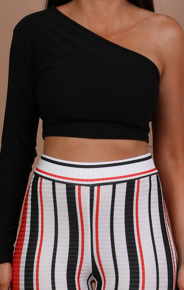 Black One Shoulder Crop Top - Lola