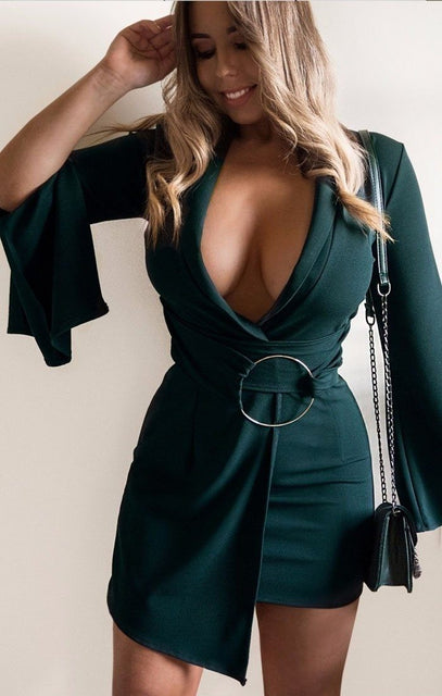 Khaki Split Sleeve Ring Wrap Blazer Dress