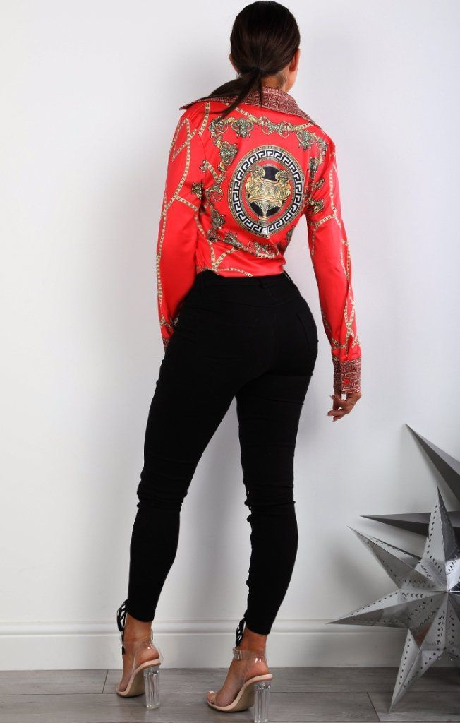 Red Chain Printed Long Sleeve Shirt
