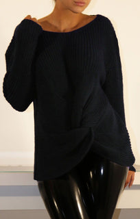 Navy Twisted Front Knitted Jumper