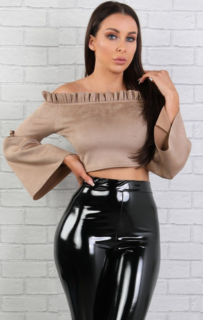 Mocha Suede Bardot Bell Sleeve Crop Top - Verity