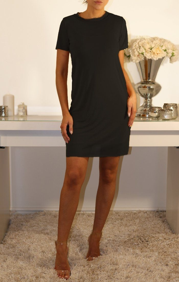 BLACK MESH OVERLAY T-SHIRT DRESS