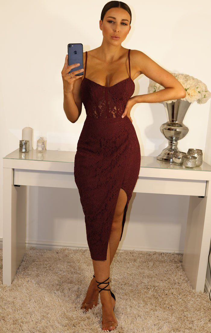 Wine Lace Cami Wrap Front Midi Dress