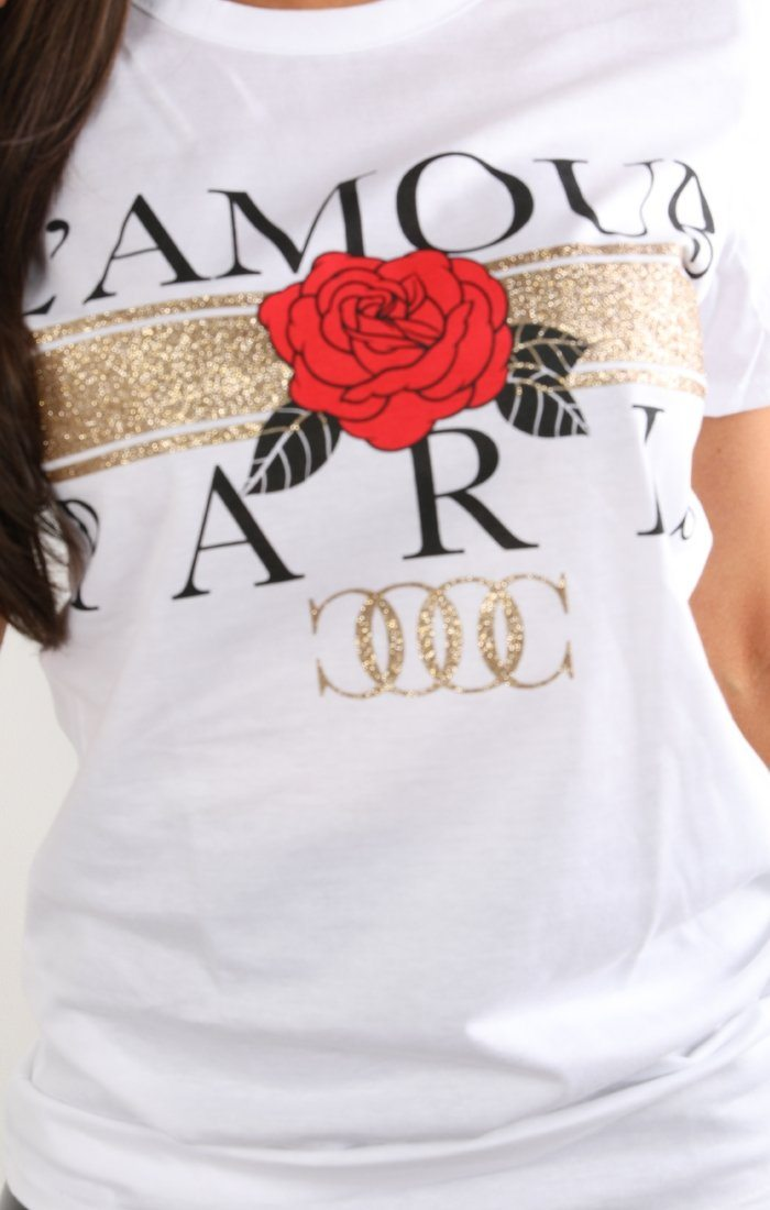 White L'amour Paris Slogan T-shirt - Kiera