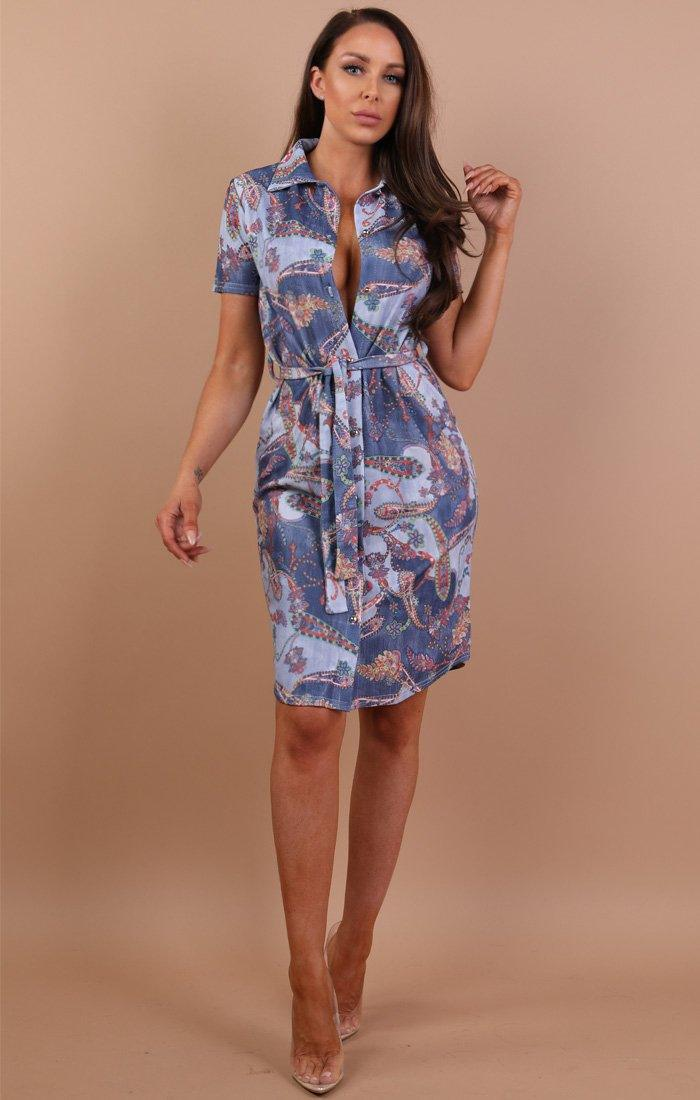 Blue-paisley-belted-shirt-dress-saphire